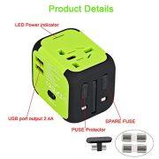 VGUARD-Adaptateur-de-Voyage-avec-2-USB-Adaptateur-Universel-Pris-de-Courant-pour-UEUS-UKAUS-Utilis-dans-Plus-de-150-Pays-Adaptateur-Chargeur-avec-Deux-fusible-fusible-de-Rechange-Vert-0-0
