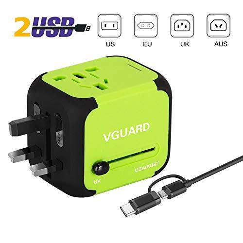 VGUARD-Adaptateur-de-Voyage-avec-2-USB-Adaptateur-Universel-Pris-de-Courant-pour-UEUS-UKAUS-Utilis-dans-Plus-de-150-Pays-Adaptateur-Chargeur-avec-Deux-fusible-fusible-de-Rechange-Vert-0