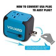 VGUARD-Voyage-Adaptateur-International-et-2-USB-5V-24A-Adapteur-Chargeur-vers-Prise-Anglaise-pour-Americaine-UK-AUS-EU-150-Pays-Incluant-Un-Cble-2-en-1-Cble-Micro-USB-Type-C-Bleu-0-1
