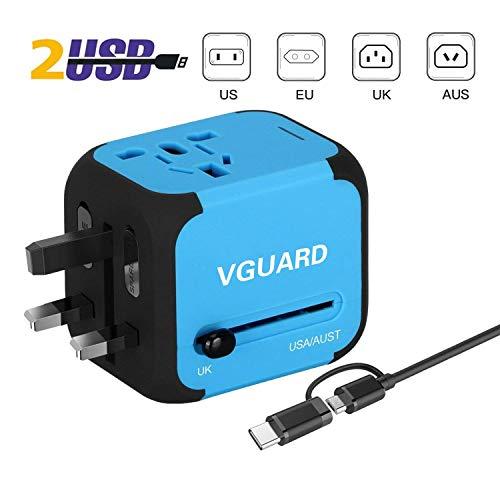 VGUARD-Voyage-Adaptateur-International-et-2-USB-5V-24A-Adapteur-Chargeur-vers-Prise-Anglaise-pour-Americaine-UK-AUS-EU-150-Pays-Incluant-Un-Cble-2-en-1-Cble-Micro-USB-Type-C-Bleu-0